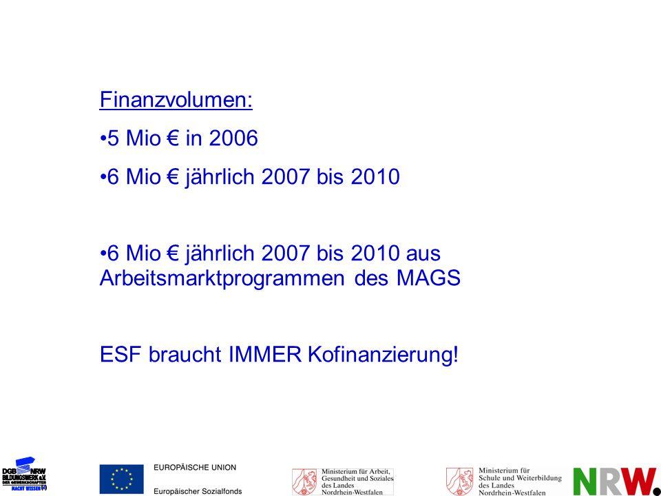 Finanzvolumen: 5 Mio in 2006 6 Mio jährlich 2007 bis 2010 6 Mio jährlich 2007 bis 2010 aus Arbeitsmarktprogrammen des MAGS ESF braucht IMMER Kofinanzi