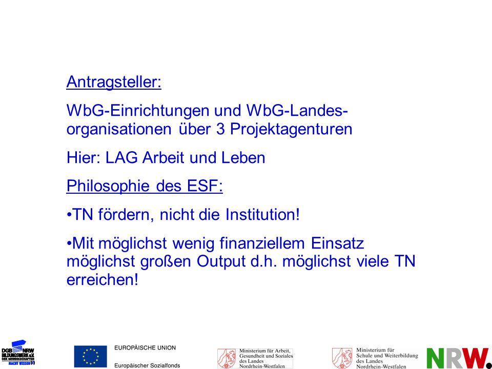 Antragsteller: WbG-Einrichtungen und WbG-Landes- organisationen über 3 Projektagenturen Hier: LAG Arbeit und Leben Philosophie des ESF: TN fördern, ni