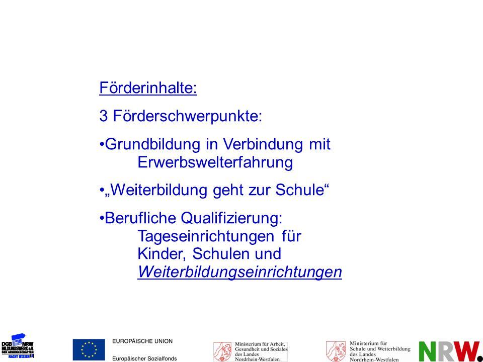 Förderinhalte: 3 Förderschwerpunkte: Grundbildung in Verbindung mit Erwerbswelterfahrung Weiterbildung geht zur Schule Berufliche Qualifizierung: Tage