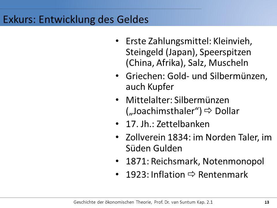 Exkurs: Entwicklung des Geldes Geschichte der ökonomischen Theorie, Prof. Dr. van Suntum Kap. 2.1 13 Erste Zahlungsmittel: Kleinvieh, Steingeld (Japan
