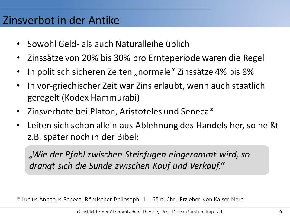 Zinsverbot in der Antike Geschichte der ökonomischen Theorie, Prof. Dr. van Suntum Kap. 2.1 9 Sowohl Geld- als auch Naturalleihe üblich Zinssätze von