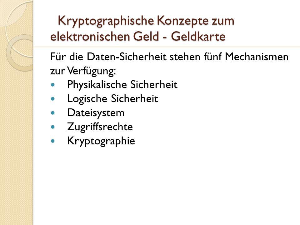 Kryptographische Konzepte zum elektronischen Geld - Geldkarte Kryptographische Konzepte zum elektronischen Geld - Geldkarte Für die Daten-Sicherheit s