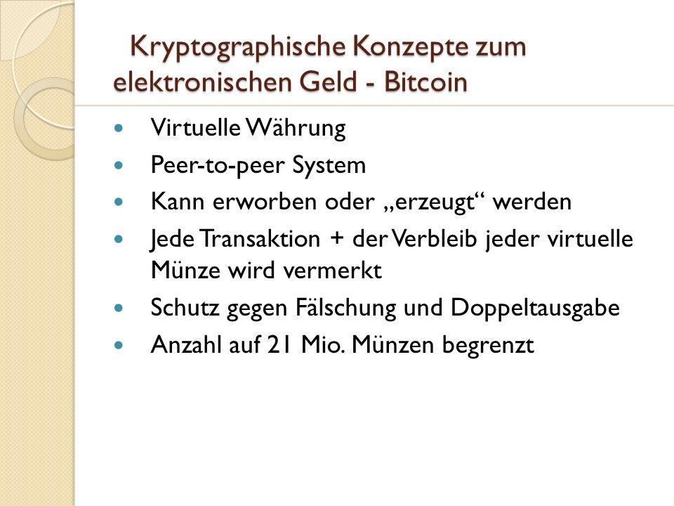 Kryptographische Konzepte zum elektronischen Geld - Bitcoin Kryptographische Konzepte zum elektronischen Geld - Bitcoin Virtuelle Währung Peer-to-peer