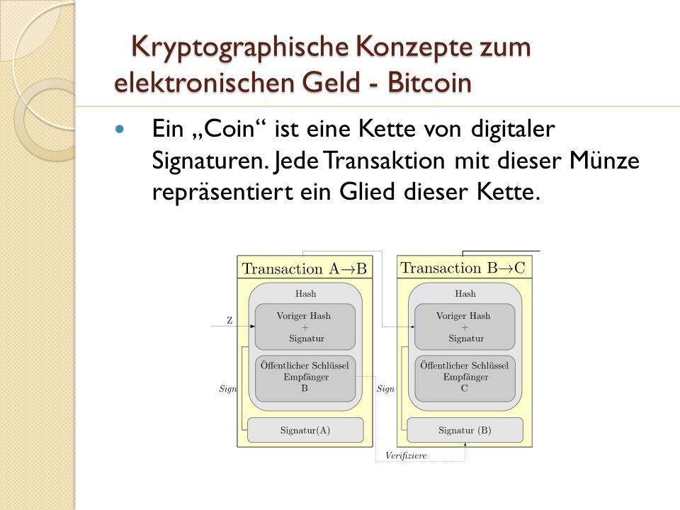 Kryptographische Konzepte zum elektronischen Geld - Bitcoin Kryptographische Konzepte zum elektronischen Geld - Bitcoin Ein Coin ist eine Kette von di