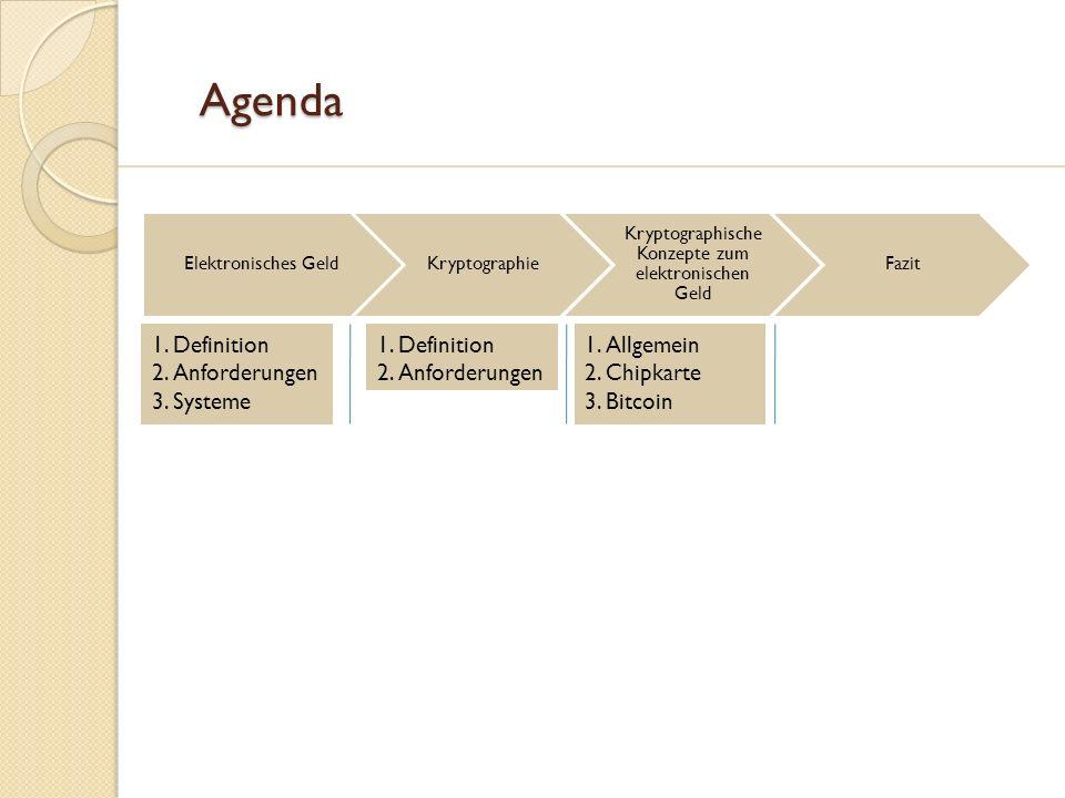 Agenda Agenda Elektronisches GeldKryptographie Kryptographische Konzepte zum elektronischen Geld Fazit 1.Definition 2.Anforderungen 3.Systeme 1.Defini