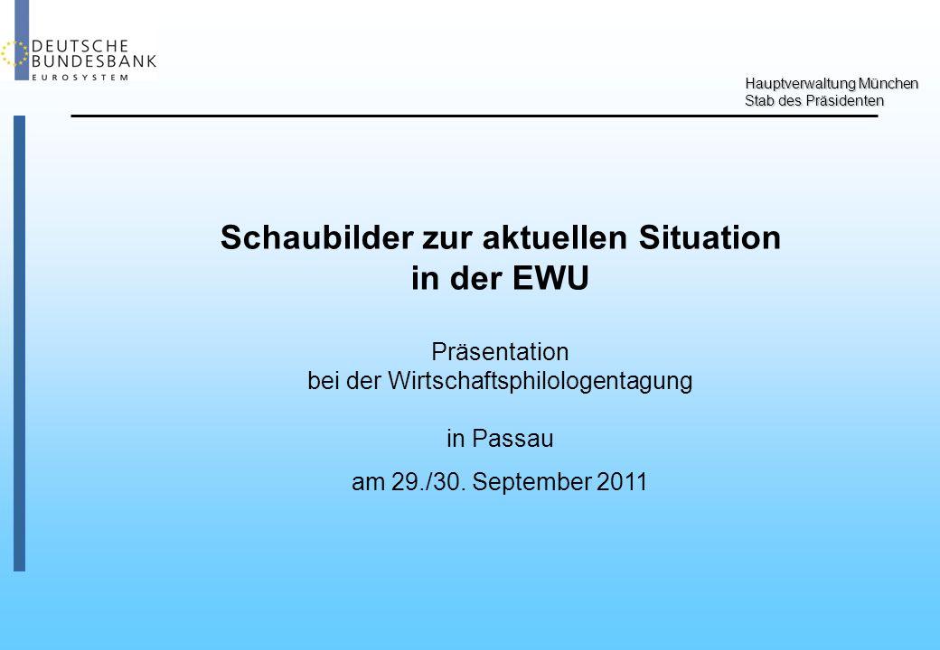 Hauptverwaltung München Stab des Präsidenten Schaubilder zur aktuellen Situation in der EWU Präsentation bei der Wirtschaftsphilologentagung in Passau