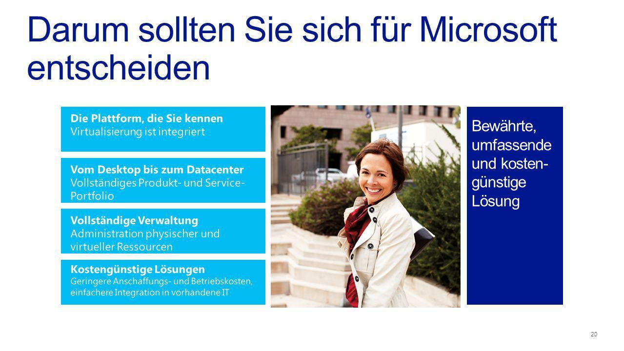 Darum sollten Sie sich für Microsoft entscheiden Bewährte, umfassende und kosten- günstige Lösung 20