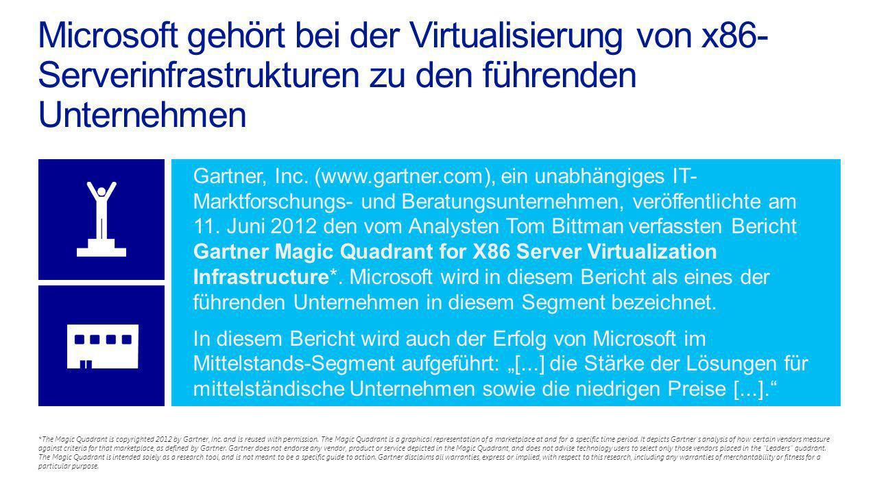Microsoft gehört bei der Virtualisierung von x86- Serverinfrastrukturen zu den führenden Unternehmen Gartner, Inc. (www.gartner.com), ein unabhängiges