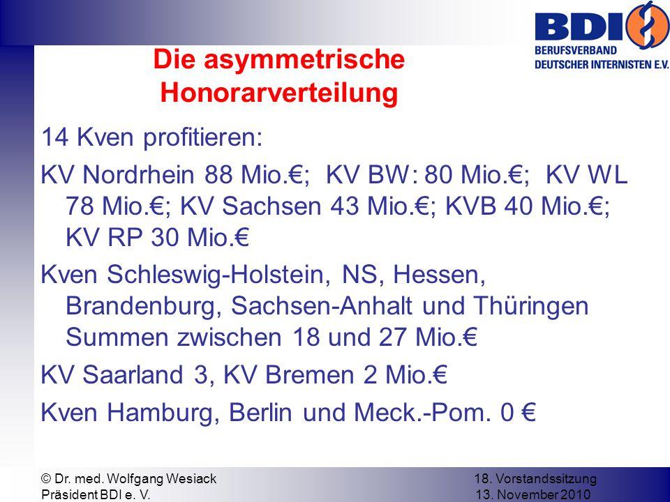 Die asymmetrische Honorarverteilung 14 Kven profitieren: KV Nordrhein 88 Mio.; KV BW: 80 Mio.; KV WL 78 Mio.; KV Sachsen 43 Mio.; KVB 40 Mio.; KV RP 30 Mio.