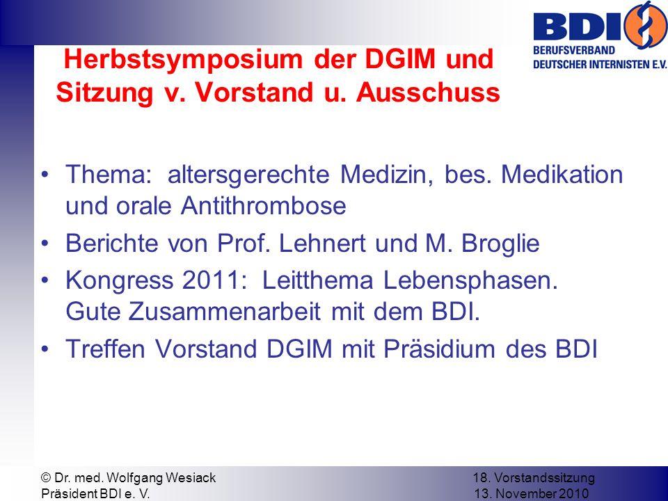 Herbstsymposium der DGIM und Sitzung v. Vorstand u.