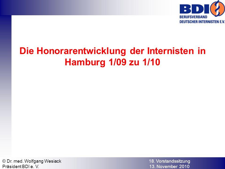 Die Honorarentwicklung der Internisten in Hamburg 1/09 zu 1/10 © Dr.