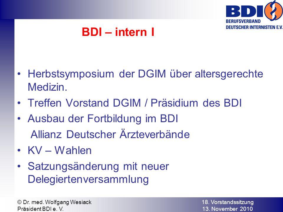 BDI – intern I Herbstsymposium der DGIM über altersgerechte Medizin.