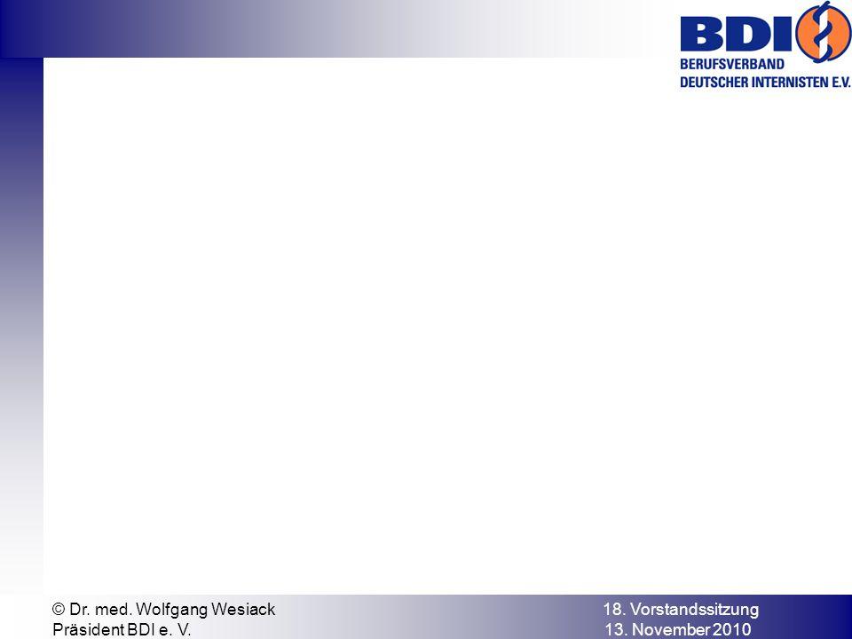 © Dr. med. Wolfgang Wesiack 18. Vorstandssitzung Präsident BDI e. V. 13. November 2010