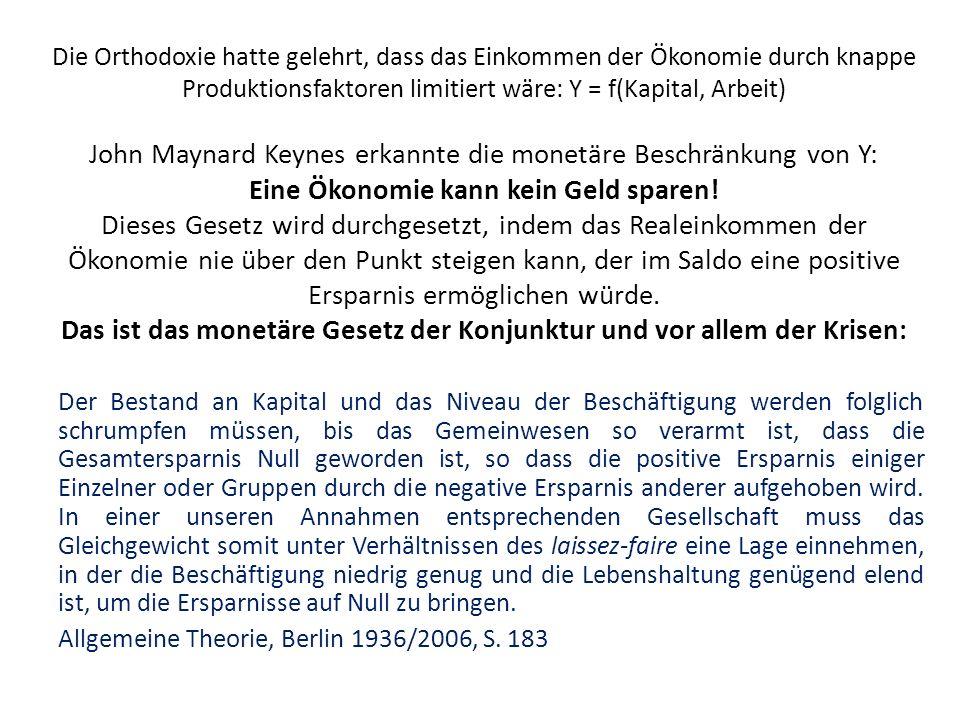 Die Orthodoxie hatte gelehrt, dass das Einkommen der Ökonomie durch knappe Produktionsfaktoren limitiert wäre: Y = f(Kapital, Arbeit) John Maynard Keynes erkannte die monetäre Beschränkung von Y: Eine Ökonomie kann kein Geld sparen.