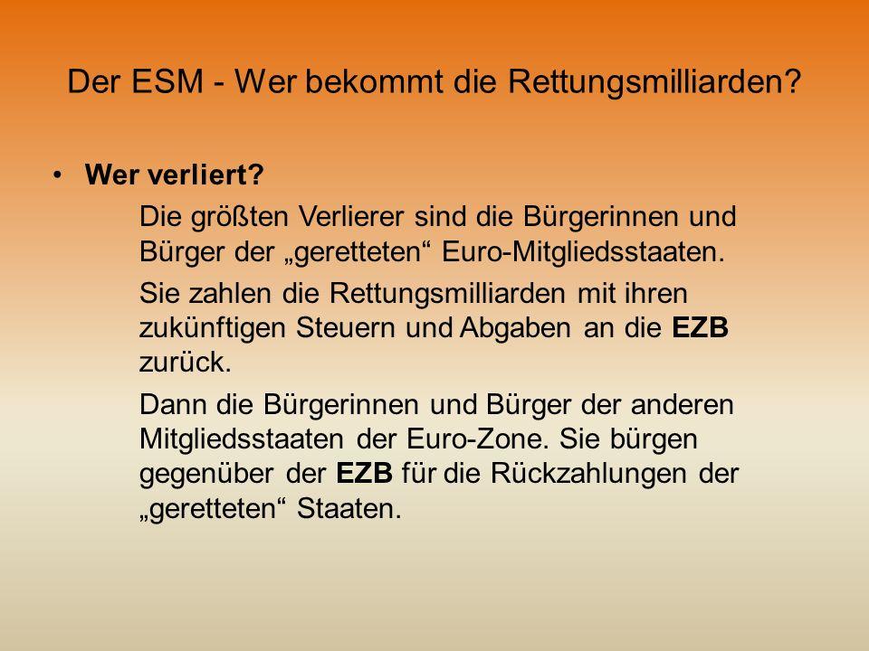 Der ESM - Wer bekommt die Rettungsmilliarden? Wer verliert? Die größten Verlierer sind die Bürgerinnen und Bürger der geretteten Euro-Mitgliedsstaaten