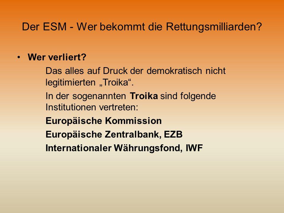 Der ESM - Wer bekommt die Rettungsmilliarden? Wer verliert? Das alles auf Druck der demokratisch nicht legitimierten Troika. In der sogenannten Troika