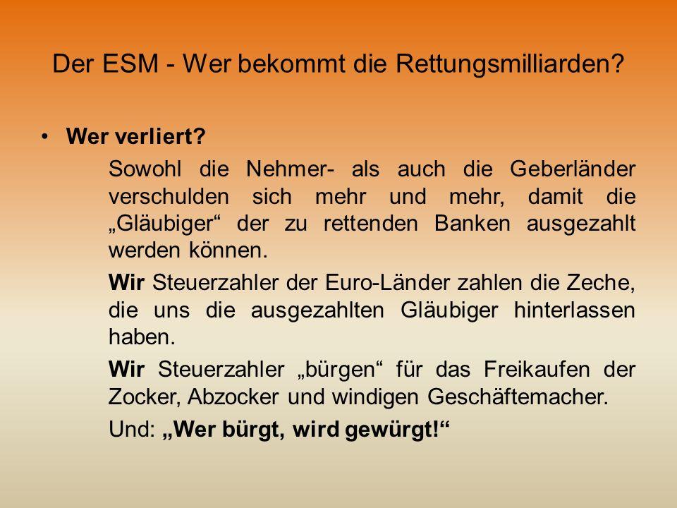 Der ESM - Wer bekommt die Rettungsmilliarden? Wer verliert? Sowohl die Nehmer- als auch die Geberländer verschulden sich mehr und mehr, damit die Gläu