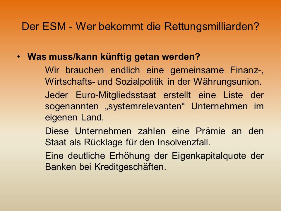 Der ESM - Wer bekommt die Rettungsmilliarden? Was muss/kann künftig getan werden? Wir brauchen endlich eine gemeinsame Finanz-, Wirtschafts- und Sozia