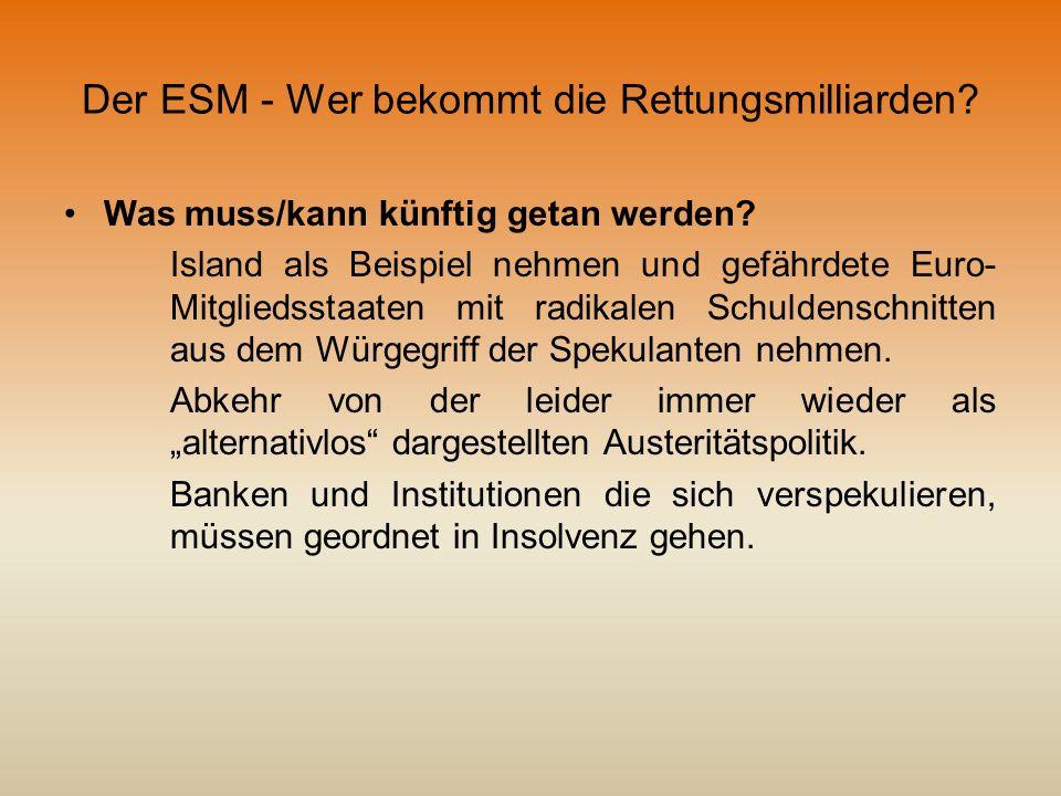 Der ESM - Wer bekommt die Rettungsmilliarden? Was muss/kann künftig getan werden? Island als Beispiel nehmen und gefährdete Euro- Mitgliedsstaaten mit