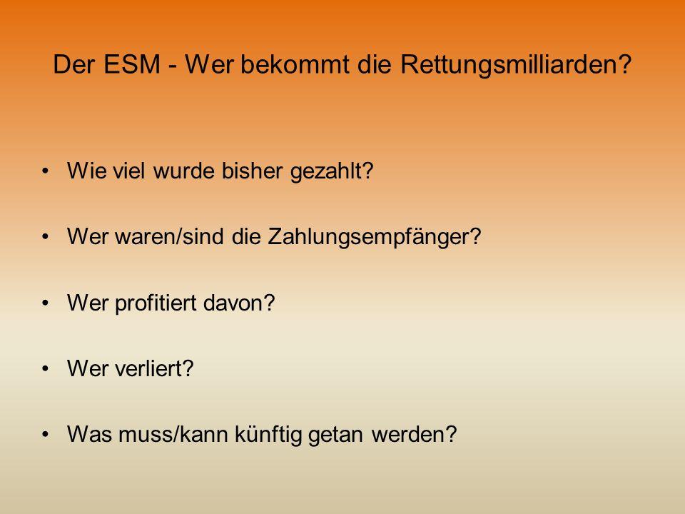 Der ESM - Wer bekommt die Rettungsmilliarden? Wie viel wurde bisher gezahlt? Wer waren/sind die Zahlungsempfänger? Wer profitiert davon? Wer verliert?