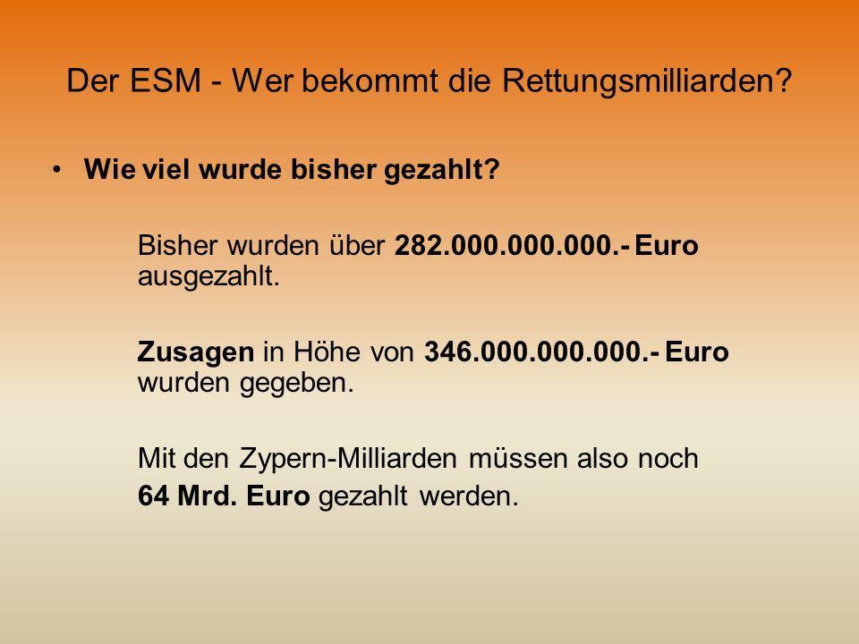 Der ESM - Wer bekommt die Rettungsmilliarden? Wie viel wurde bisher gezahlt? Bisher wurden über 282.000.000.000.- Euro ausgezahlt. Zusagen in Höhe von