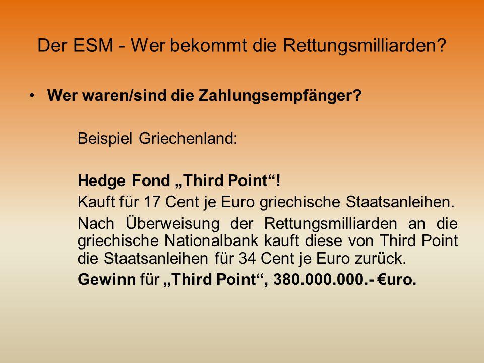 Der ESM - Wer bekommt die Rettungsmilliarden? Wer waren/sind die Zahlungsempfänger? Beispiel Griechenland: Hedge Fond Third Point! Kauft für 17 Cent j