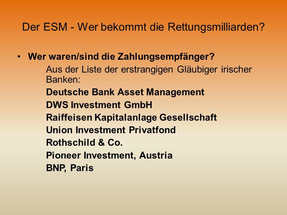 Der ESM - Wer bekommt die Rettungsmilliarden? Wer waren/sind die Zahlungsempfänger? Aus der Liste der erstrangigen Gläubiger irischer Banken: Deutsche