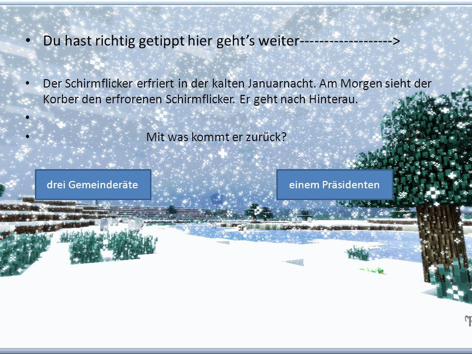 Du hast richtig getippt hier gehts weiter-------------------> Der Schirmflicker erfriert in der kalten Januarnacht. Am Morgen sieht der Korber den erf