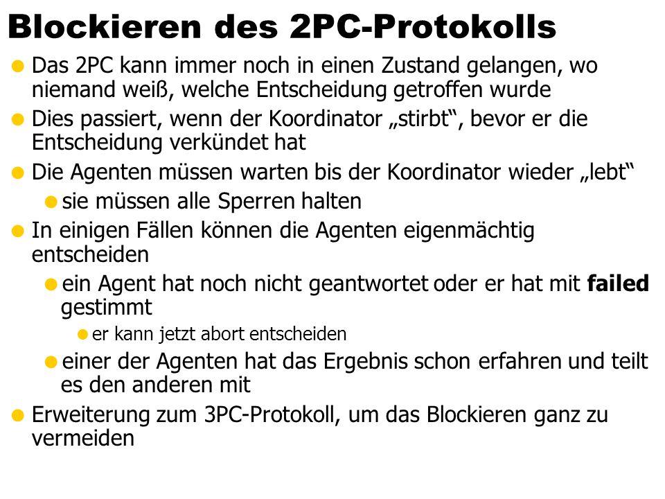 26 Blockieren des 2PC-Protokolls Das 2PC kann immer noch in einen Zustand gelangen, wo niemand weiß, welche Entscheidung getroffen wurde Dies passiert