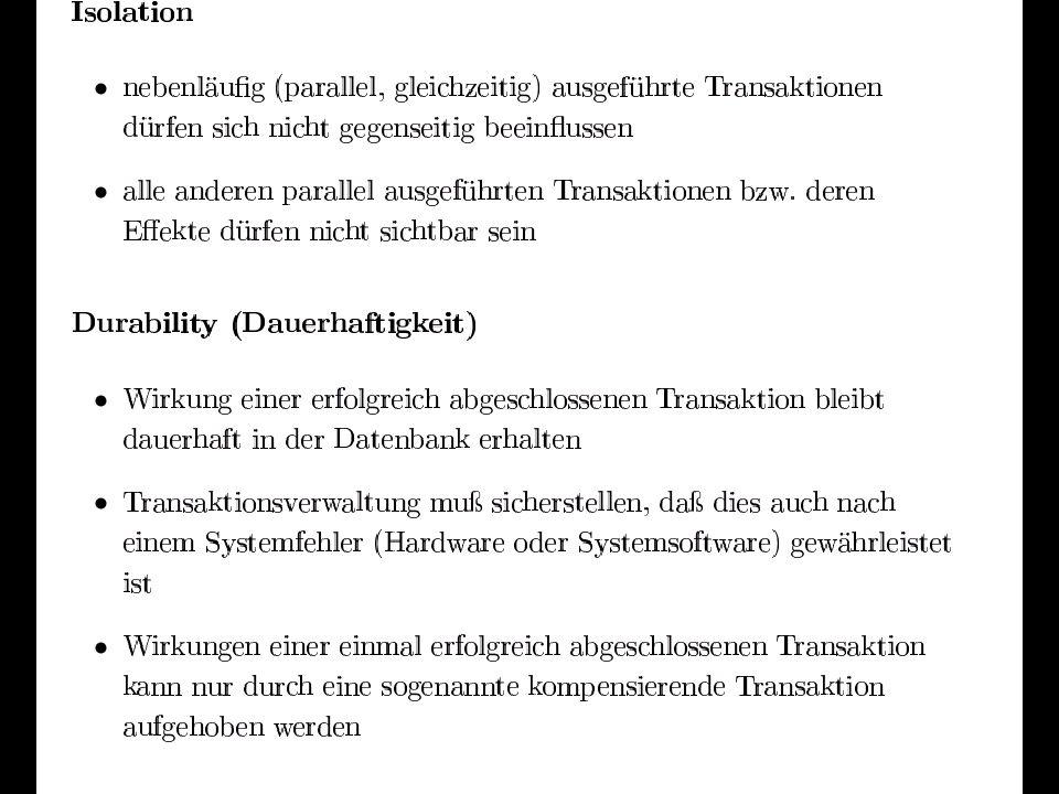 34 Beispiel einer geschachtelten Transaktion T1 T111 S C/AC/A T12 S C/AC/A T13 S C/AC/A T11 S C/AC/A T121 S C/AC/A T122 S C/AC/A T131 S C/AC/A
