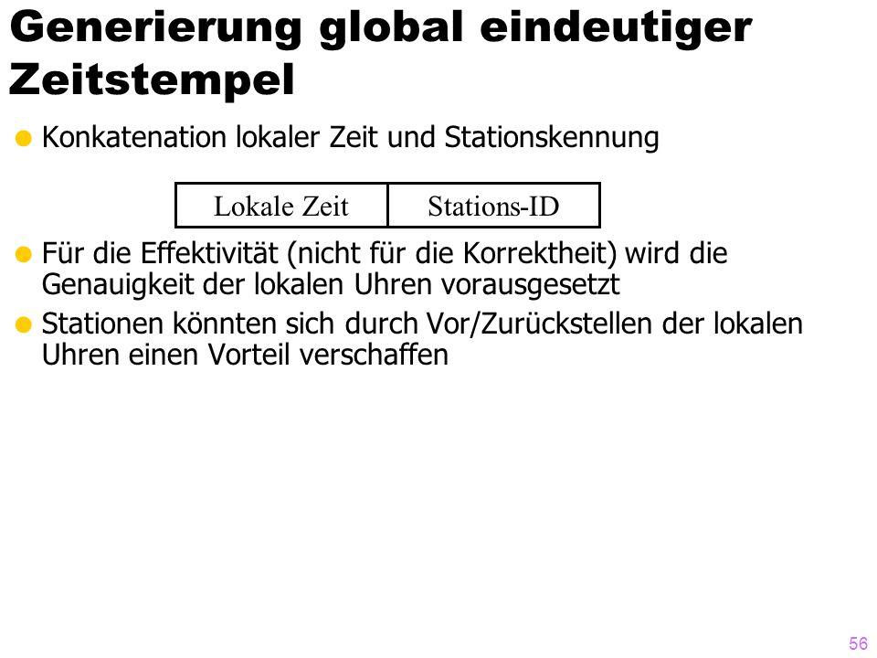 56 Generierung global eindeutiger Zeitstempel Konkatenation lokaler Zeit und Stationskennung Für die Effektivität (nicht für die Korrektheit) wird die