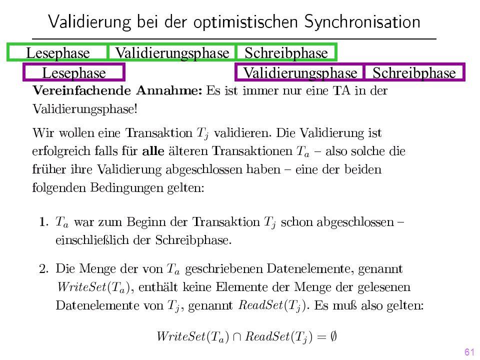 61 LesephaseValidierungsphaseSchreibphase LesephaseValidierungsphaseSchreibphase