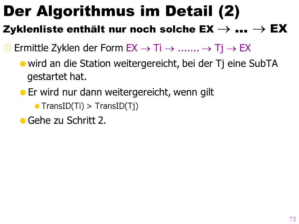 73 Der Algorithmus im Detail (2) Zyklenliste enthält nur noch solche EX... EX ½Ermittle Zyklen der Form EX Ti....... Tj EX wird an die Station weiterg