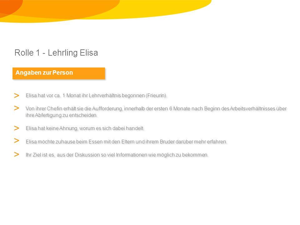 Rolle 1 - Lehrling Elisa Angaben zur Person Elisa hat vor ca.