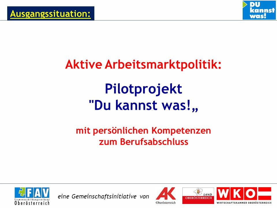 Ausgangssituation: Aktive Arbeitsmarktpolitik: Pilotprojekt Du kannst was.