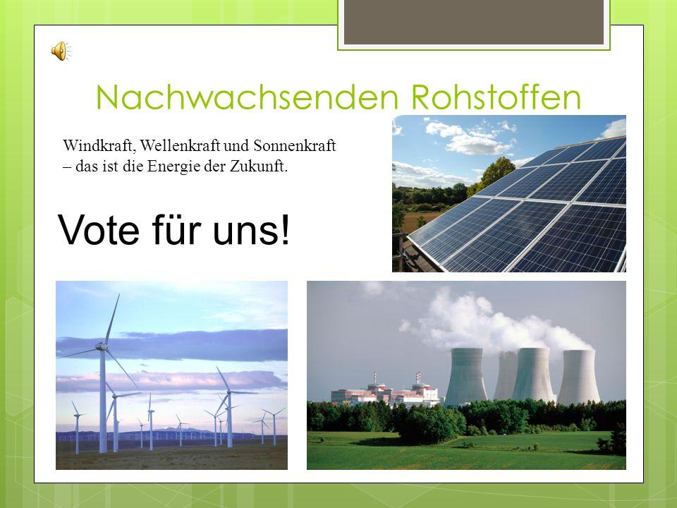 Nachwachsenden Rohstoffen Windkraft, Wellenkraft und Sonnenkraft – das ist die Energie der Zukunft.