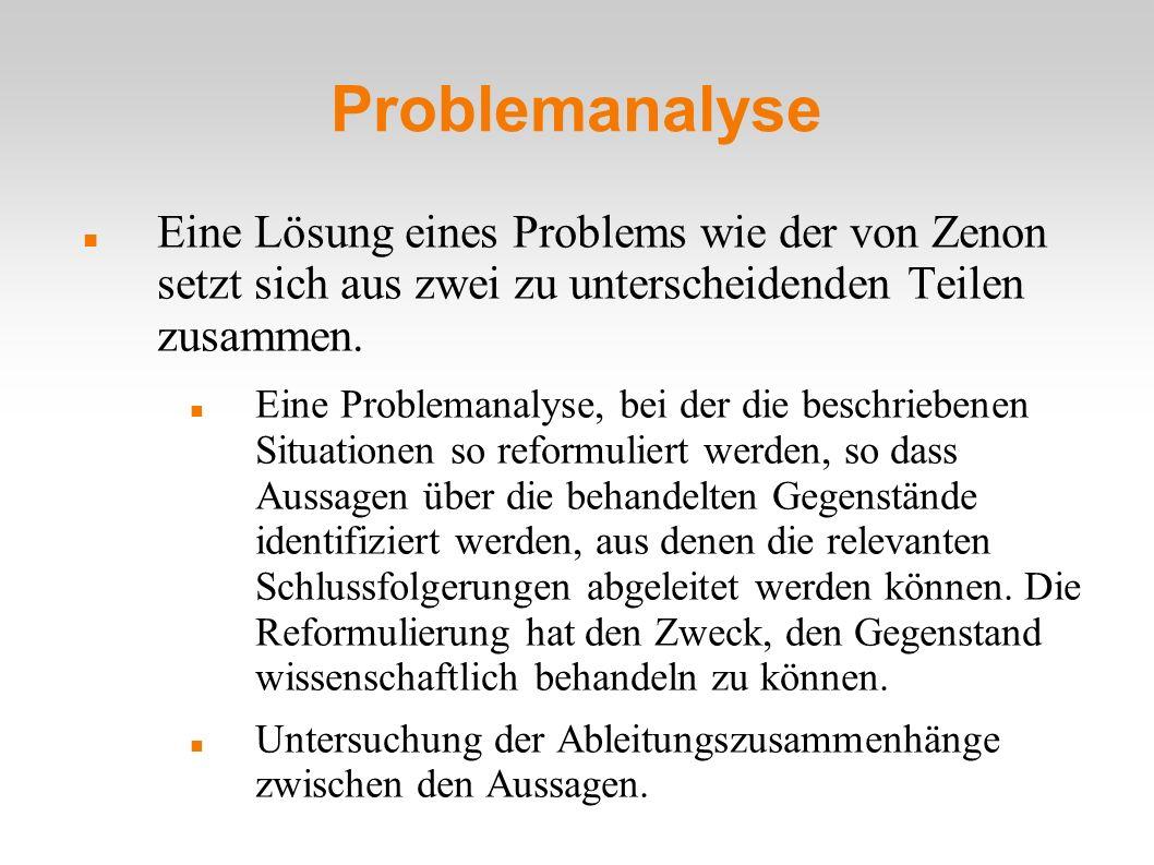 Problemanalyse Eine Lösung eines Problems wie der von Zenon setzt sich aus zwei zu unterscheidenden Teilen zusammen. Eine Problemanalyse, bei der die