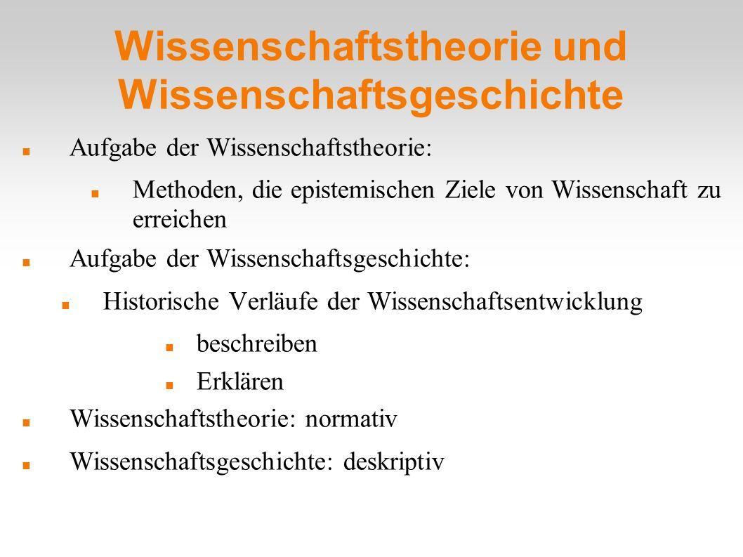 Wissenschaftstheorie und Wissenschaftsgeschichte Aufgabe der Wissenschaftstheorie: Methoden, die epistemischen Ziele von Wissenschaft zu erreichen Auf
