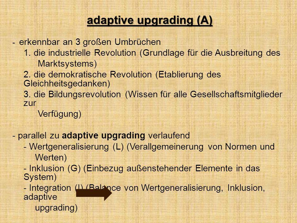 adaptive upgrading (A) - - erkennbar an 3 großen Umbrüchen 1.