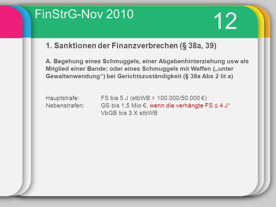 12 1.Sanktionen der Finanzverbrechen (§ 38a, 39) A.