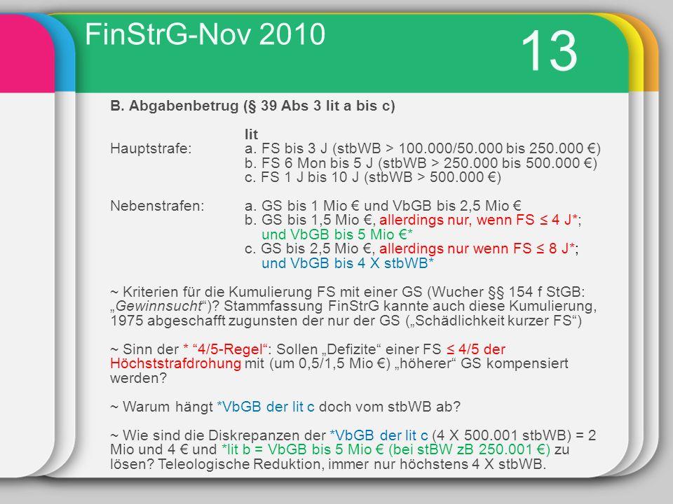 13 B.Abgabenbetrug (§ 39 Abs 3 lit a bis c) lit Hauptstrafe: a.