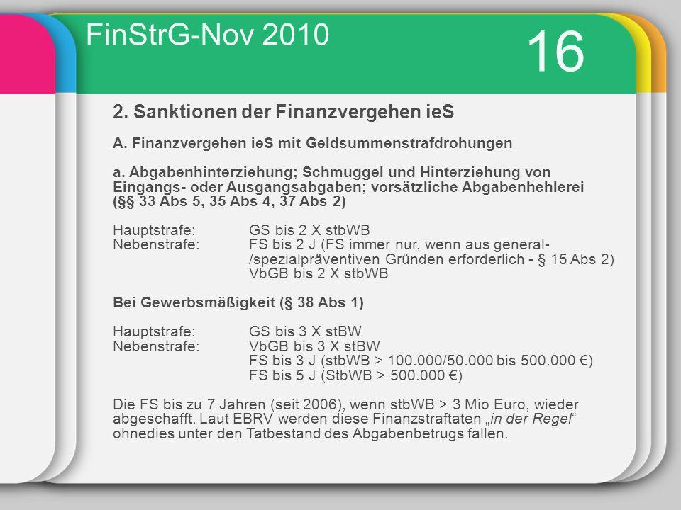 16 2.Sanktionen der Finanzvergehen ieS A. Finanzvergehen ieS mit Geldsummenstrafdrohungen a.