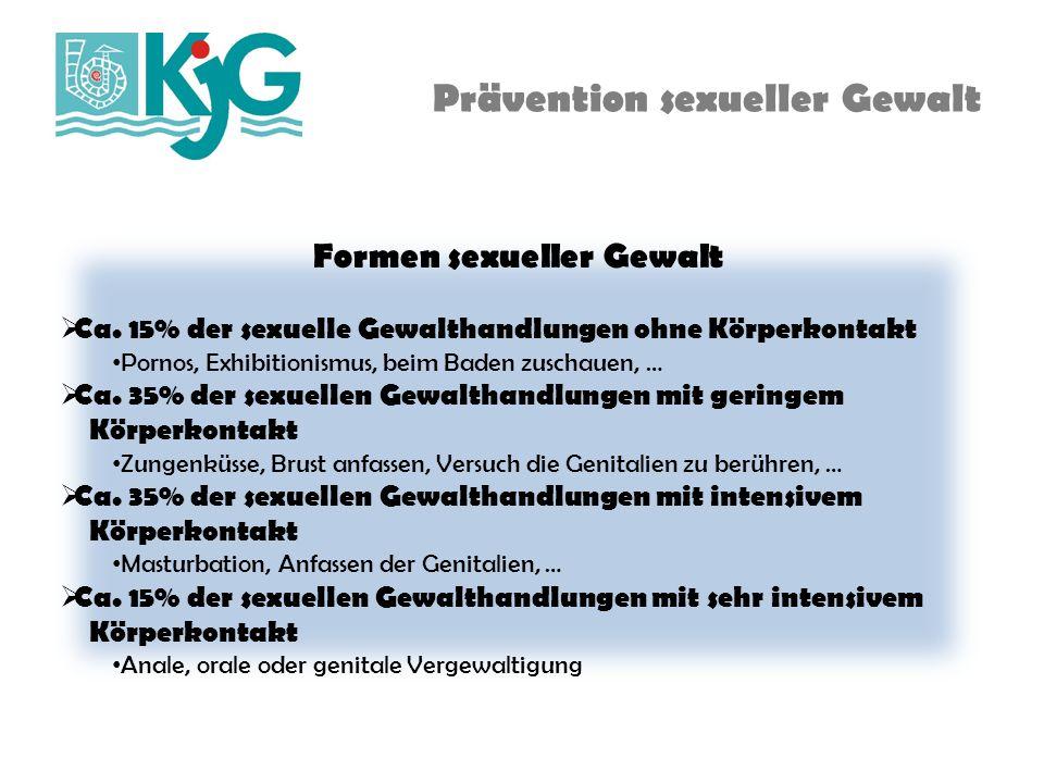 Prävention sexueller Gewalt Täglich gibt es in Deutschland laut polizeilicher Kriminalstatistik 41 Fälle gemeldeter sexueller Gewalt.