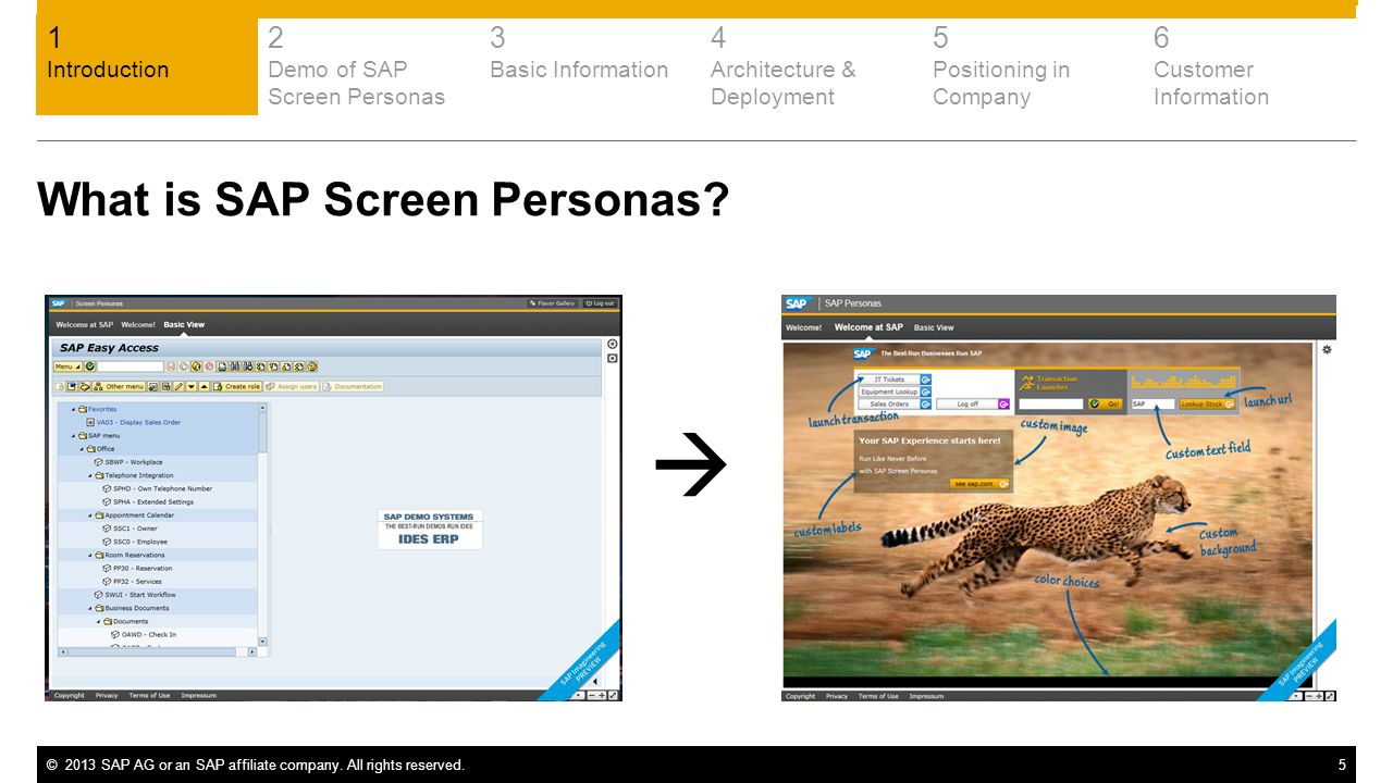 ©2013 SAP AG or an SAP affiliate company. All rights reserved.5 What is SAP Screen Personas? 1 Introduction 2 Demo of SAP Screen Personas 3 Basic Info