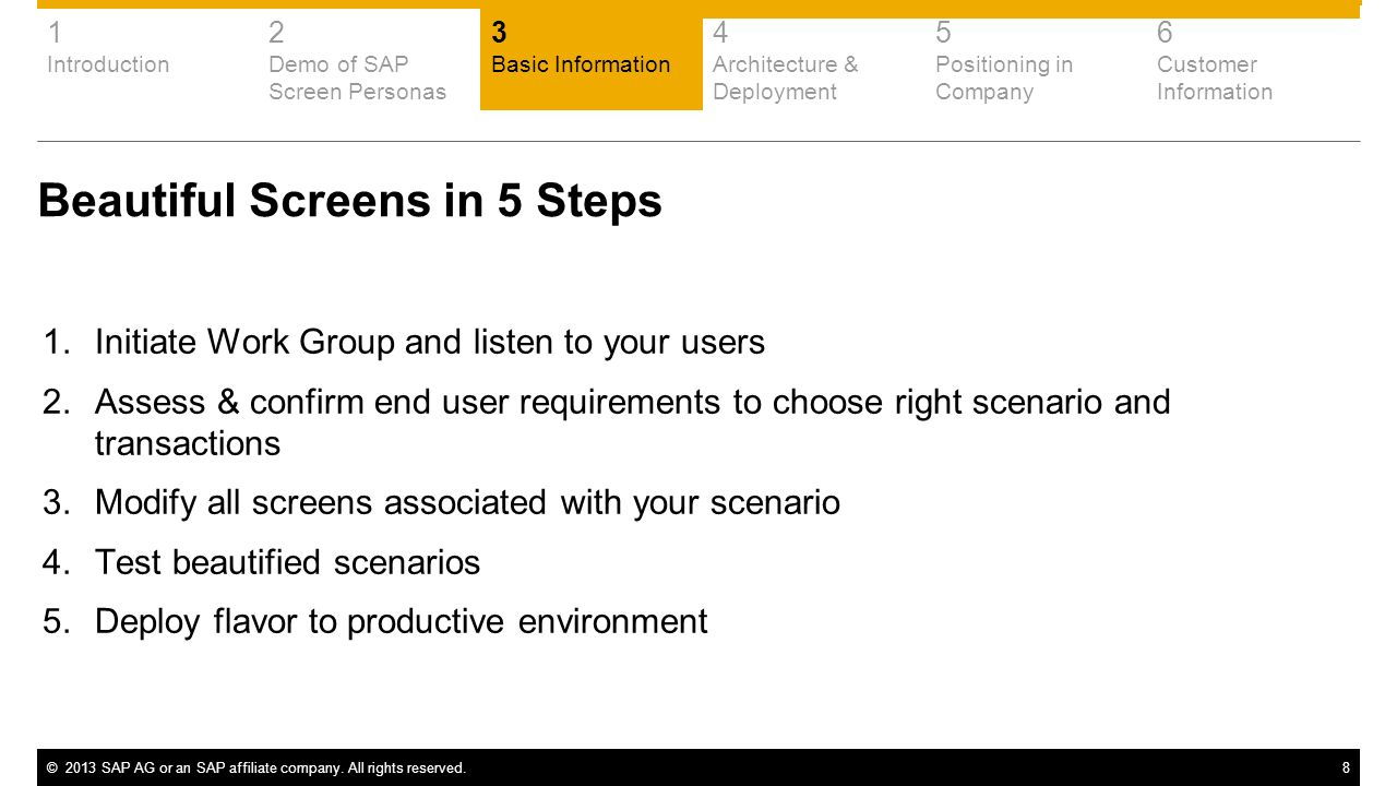 ©2013 SAP AG or an SAP affiliate company. All rights reserved.8 Beautiful Screens in 5 Steps 1.Initiate Work Group and listen to your users 2.Assess &