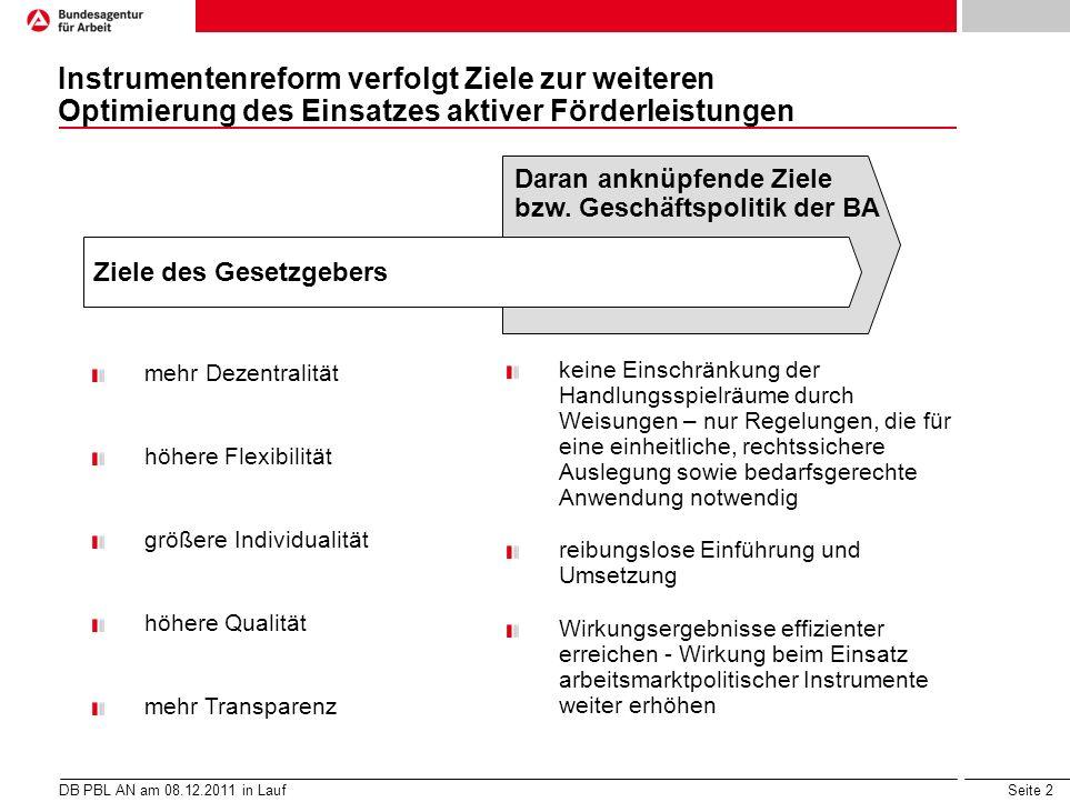 Seite 2 Instrumentenreform verfolgt Ziele zur weiteren Optimierung des Einsatzes aktiver Förderleistungen DB PBL AN am 08.12.2011 in Lauf Ziele des Ge