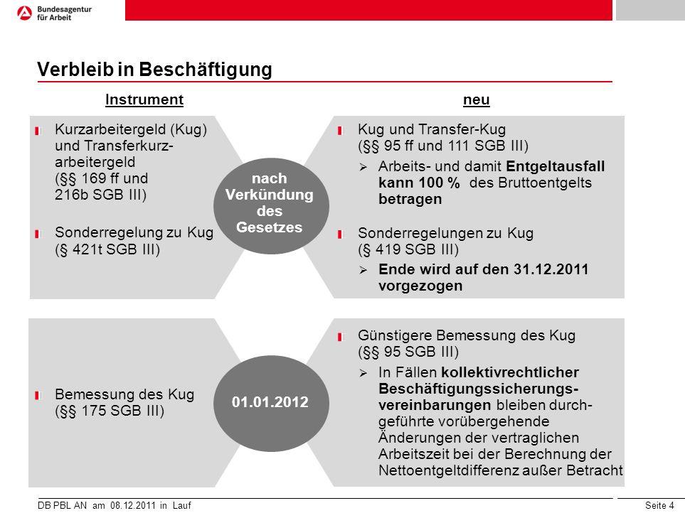 Seite 4 Verbleib in Beschäftigung DB PBL AN am 08.12.2011 in Lauf neu Instrument Kurzarbeitergeld (Kug) und Transferkurz- arbeitergeld (§§ 169 ff und