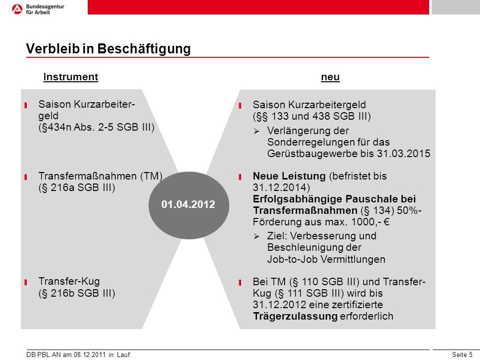 Seite 5 Verbleib in Beschäftigung DB PBL AN am 08.12.2011 in Lauf neu Instrument 01.04.2012 Saison Kurzarbeiter- geld (§434n Abs. 2-5 SGB III) Transfe