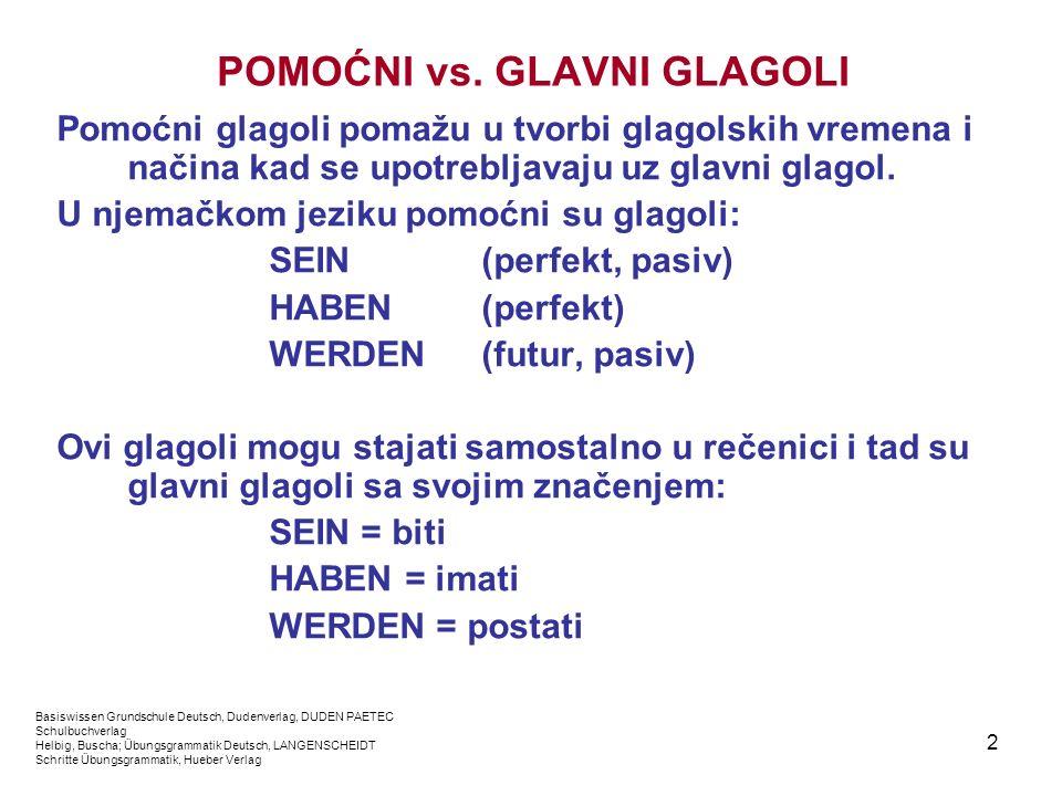 2 POMOĆNI vs. GLAVNI GLAGOLI Pomoćni glagoli pomažu u tvorbi glagolskih vremena i načina kad se upotrebljavaju uz glavni glagol. U njemačkom jeziku po