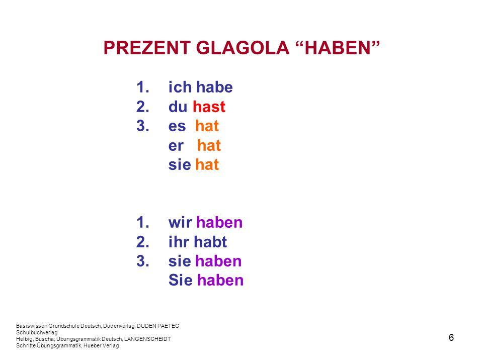 6 PREZENT GLAGOLA HABEN 1.ich habe 2.du hast 3.es hat er hat sie hat 1.wir haben 2.ihr habt 3.sie haben Sie haben Basiswissen Grundschule Deutsch, Dud